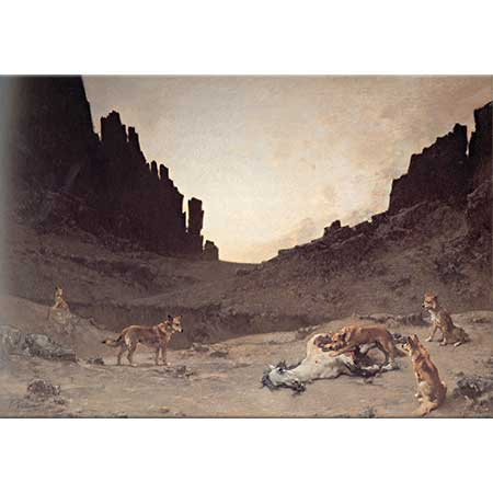 Gustave Achille Guillaumet Köpekler Ölü Bir Atı Yerken