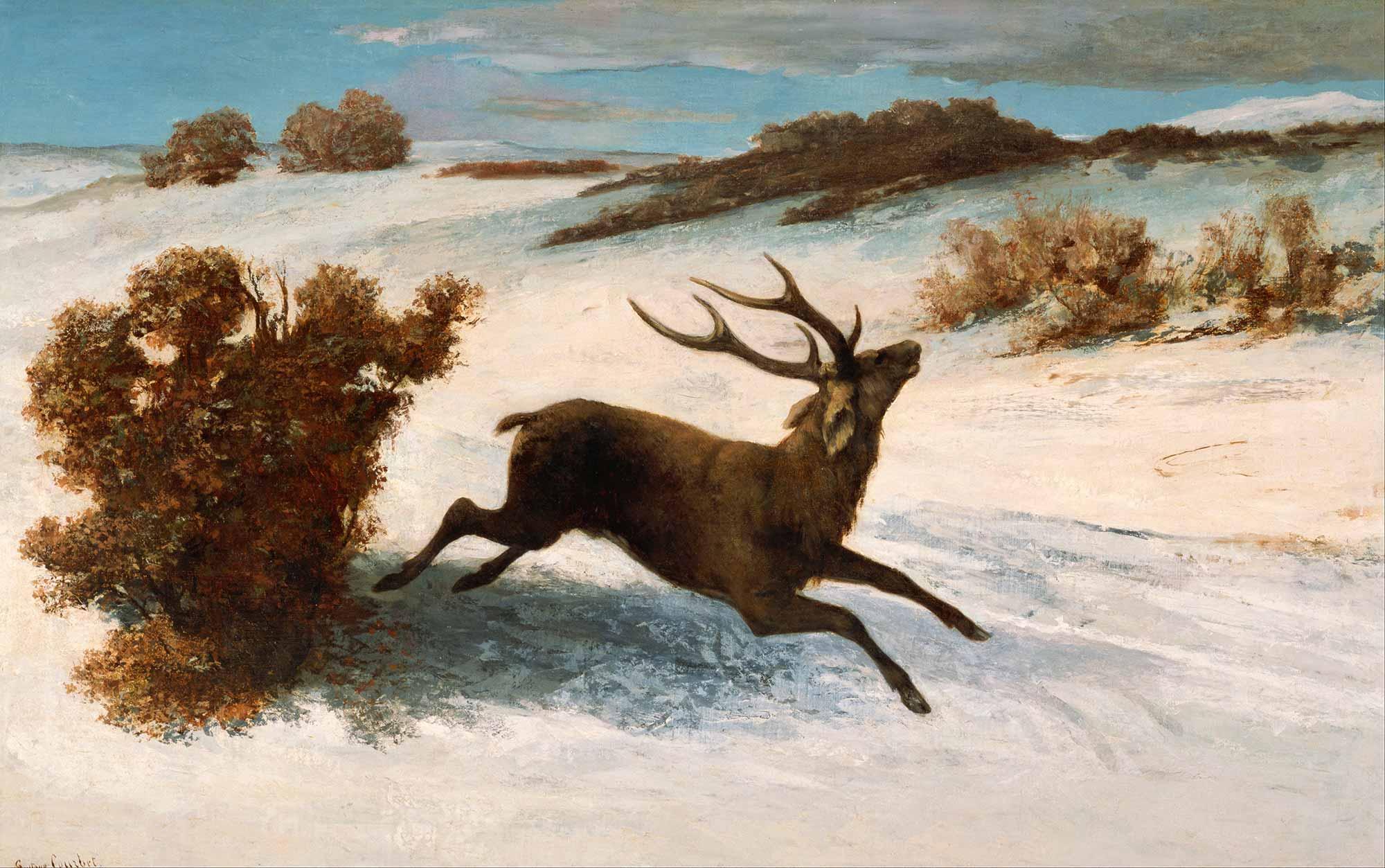 Gustave Courbet Karda Koşan Geyik