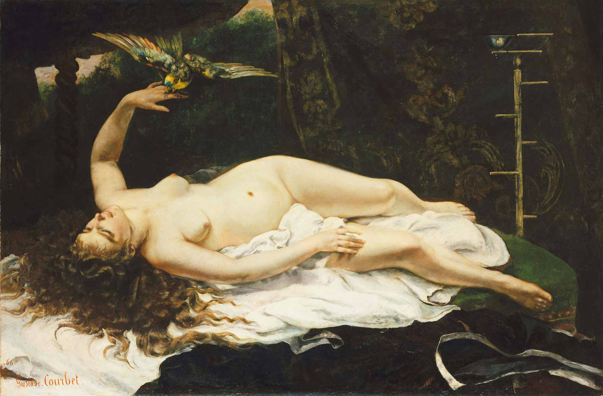 Gustave Courbet Papağanlı Kadın