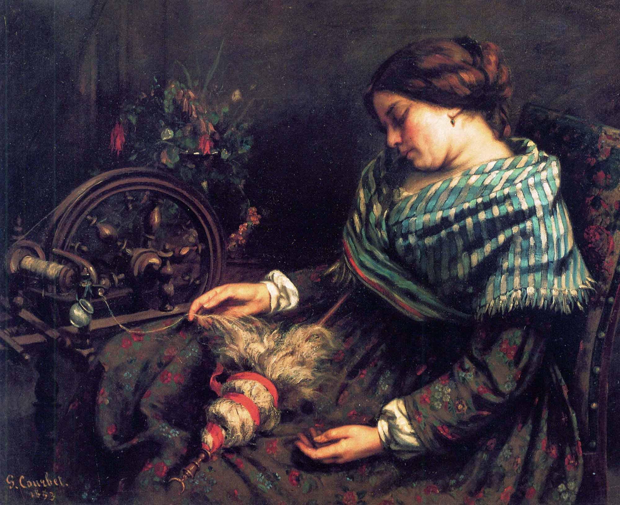 Gustave Courbet Uyuyan Örgücü