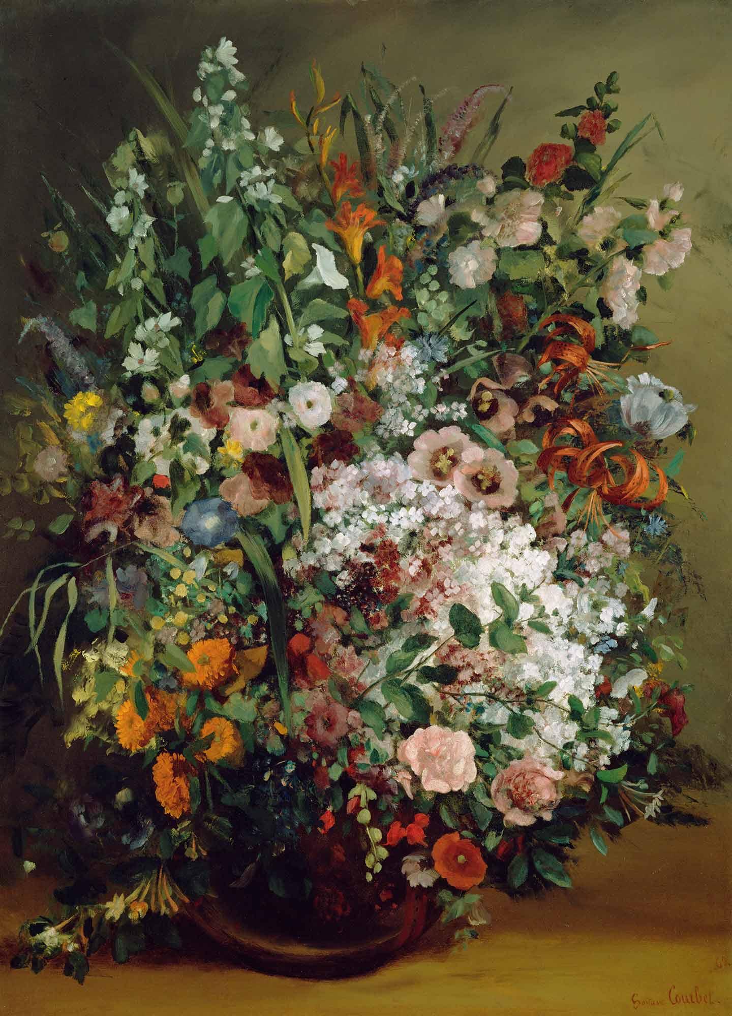 Gustave Courbet Vazoda Çiçekler