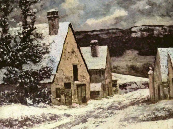 Gustave Courbet Kış'ta Köy Çıkışı