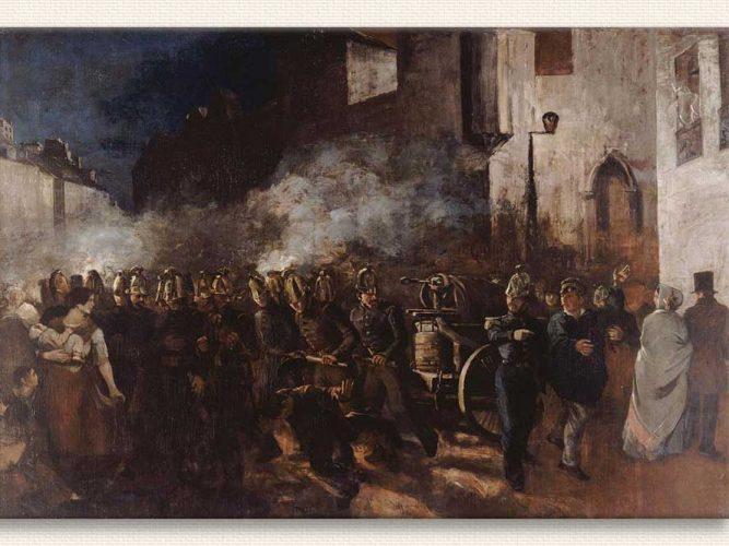 Gustave Courbet Yangına Koşan itfayeciler