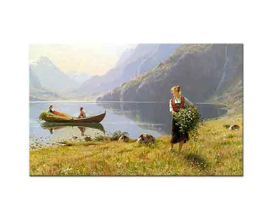 Hans Dahl Fiyord Kıyılarında Manzara