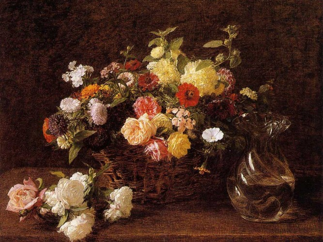 Henri Fantin Latour sepette çiçekler