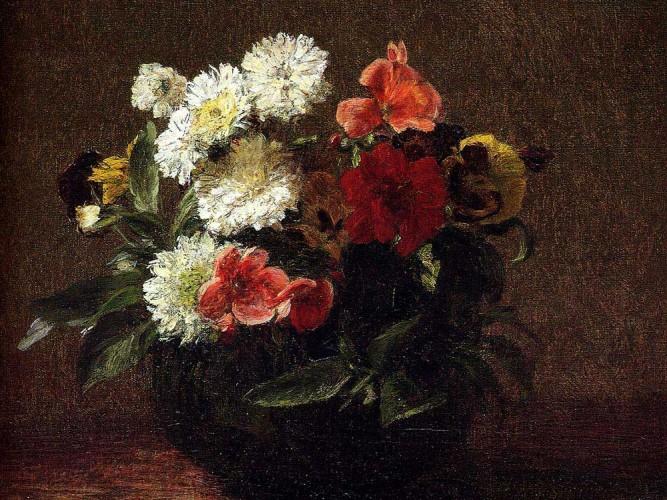 Henri Fantin Latour Toprak Kapta çiçekler