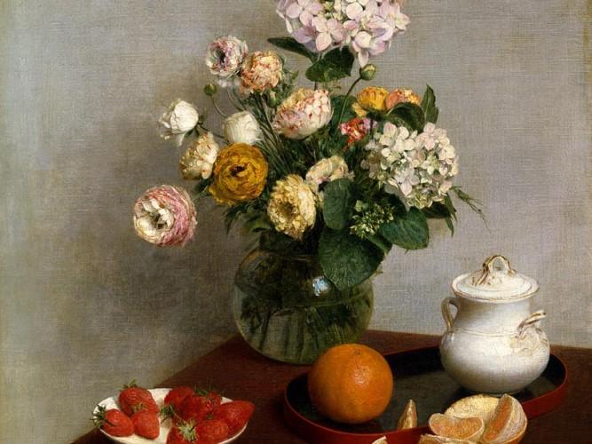 Henri Fantin Latour portakal ve çiçekler