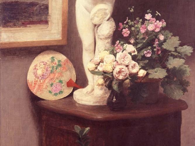 Henri Fantin Latour büst ve çiçekli natürmort