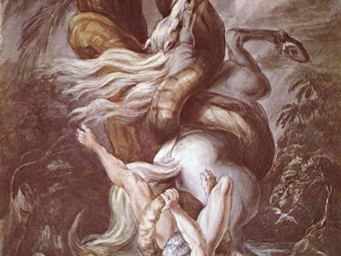 Heinrich Füssli Büyük Yılandan Kaçan Atlılar