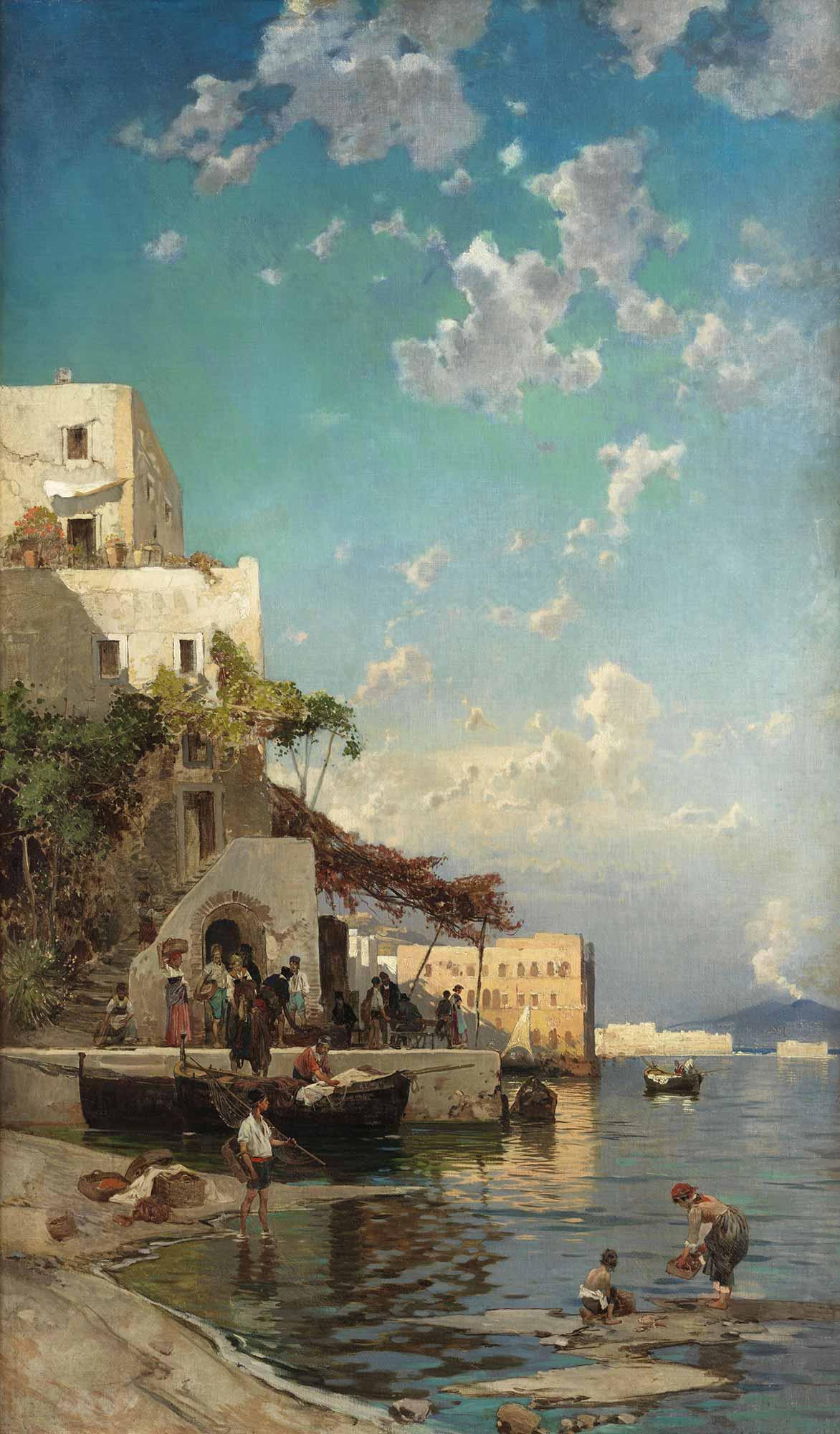 Hermann David Salomon Corrodi Balıkçıların Akşam Vakti Rıhtımda Buluşmaları, Napoli