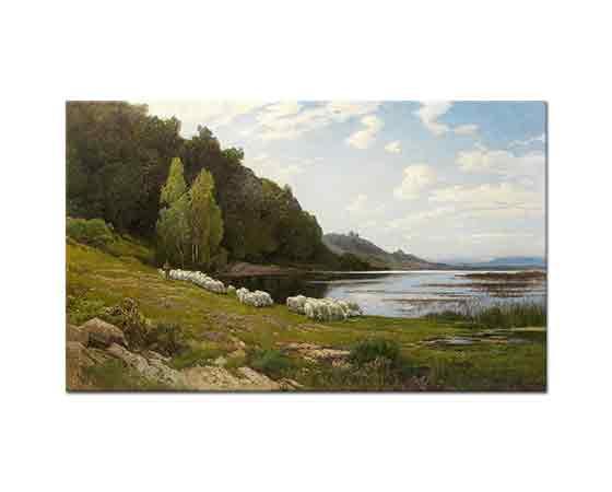 Hermann David Salomon Corrodi Göl Kenarında Otlayan Koyunlar