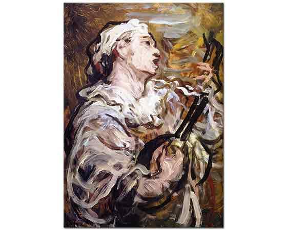 Honore Daumier Pierrot Gitarı ile