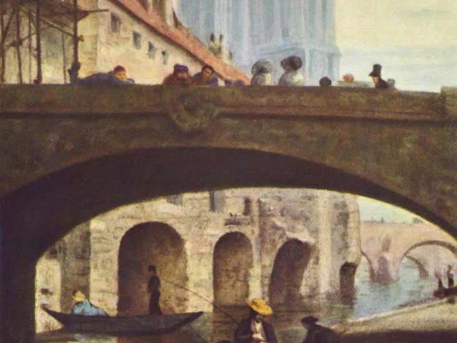 Honore Daumier Notre Dame önünde Sanatçılar