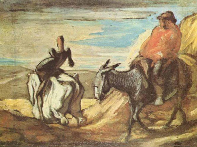 Honore Daumier Sanço Panço ve Don Kişot Dağlarda
