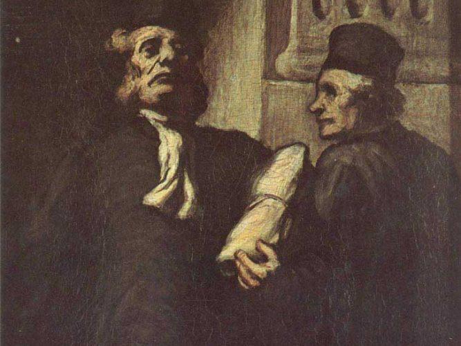Honore Daumier iki Avukat tablosu