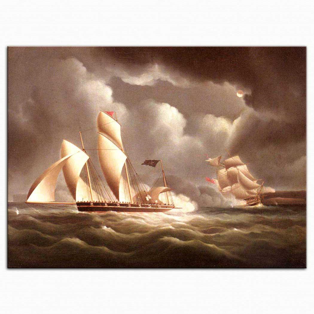 James Edward Buttersworth Ingiliz Gemisi Korsana Gece Saldırırken