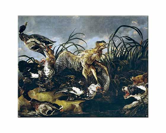 Jan Fyt Köpeklerin Korkuttuğu Balaban Kuşu ve Ördekler