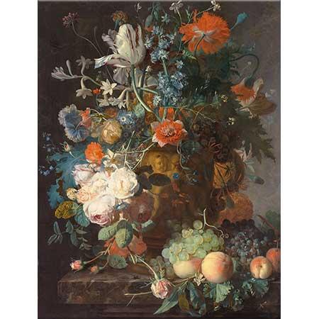 Jan van Huysum Çiçek Buketi ve Meyveler