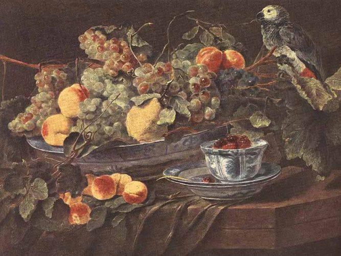 Jan Fyt Meyveler ve Papağan tablosu