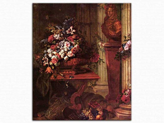 Jean Baptiste Belin de Fontenay Vazoda Çiçekler ve Büst