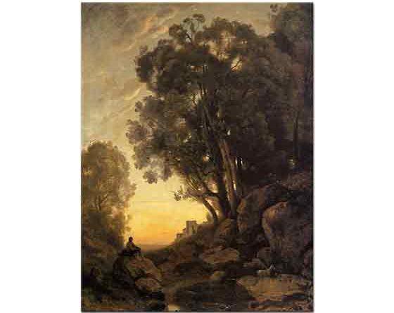 Jean Baptiste Camille Corot Akşam Vakti Bir Italyan Çobanı