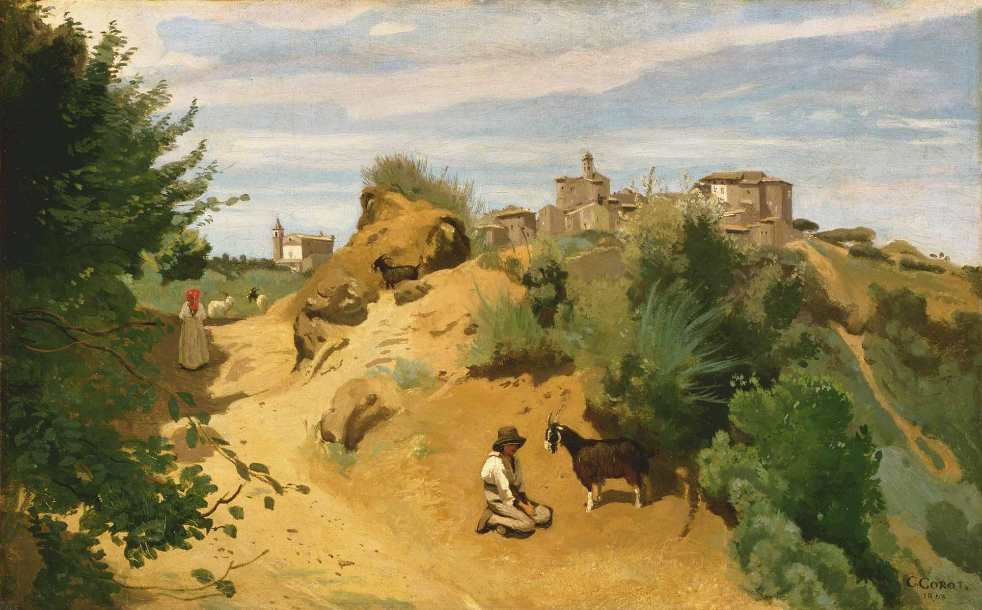 Jean Baptiste Camille Corot Genzano Köy ve Çoban