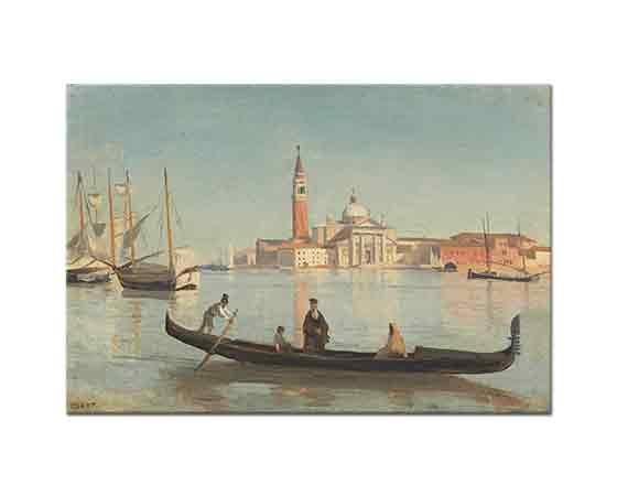 Jean Baptiste Camille Corot Grand Kanal'da Gondol