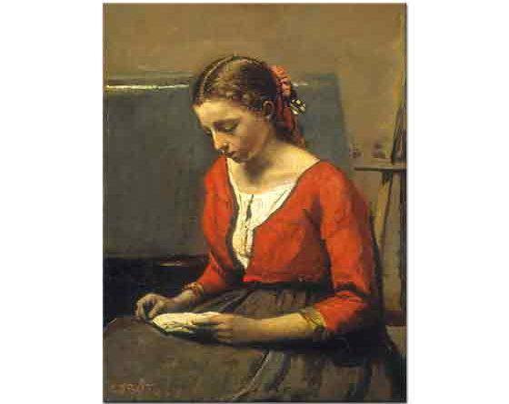 Jean Baptiste Camille Corot Kırmızı Yelekli Kitap Okuyan Kız
