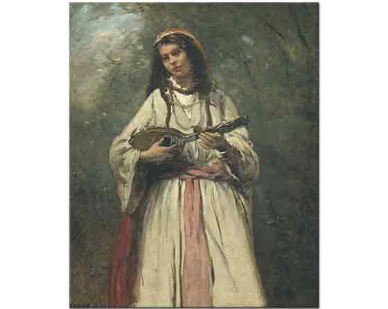 Jean Baptiste Camille Corot Mandolinli Kadın