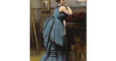 Jean Baptiste Camille Corot Mavi Elbiseli Kadın