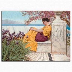 John William Godward Daldan Sarkan çiçeklerin Altında
