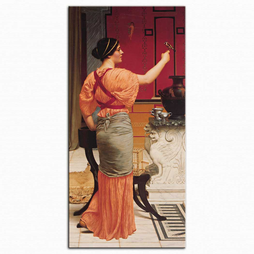 John William Godward Lesbia ve Serçesi
