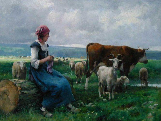 Julien Dupre Keçi inek ve Koyunlarla Birlikte Çoban Kız