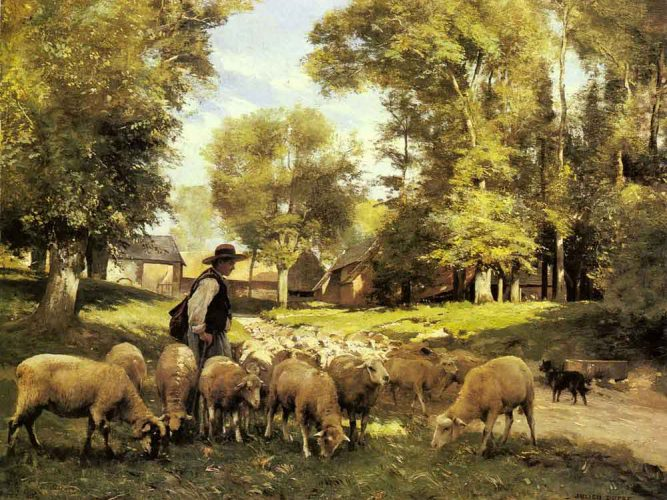 Julien Dupre Çoban ve Sürüsü tablosu