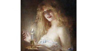 Leon François Comerre Mum ışığında Genç Kadın