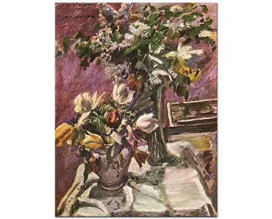 Lovis Corinth çiçekli Natürmort Leylak ve Laleler