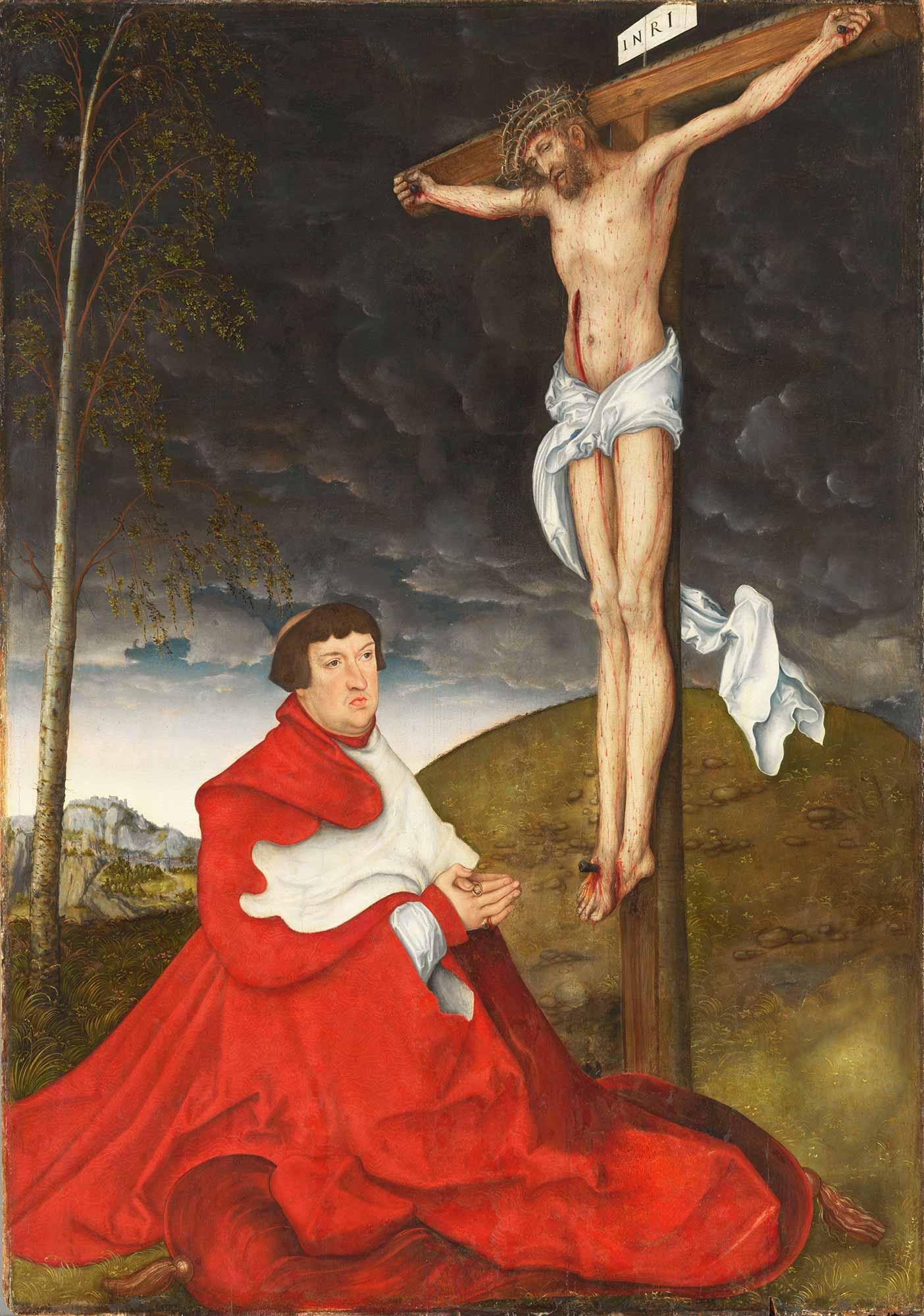 Lucas Cranach Kardinal Albrecht von Brandenburg ve Çarmıh
