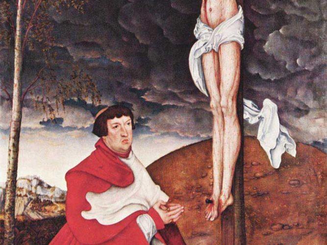 Lucas Cranach Cardinal Albrecht von Brandenburg ve Çarmıh