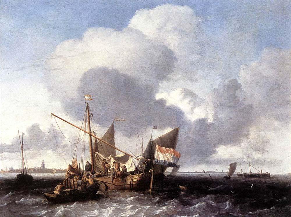 Ludolf Backhuysen Gemiler Denize Açılmadan Naarden Kalesinde