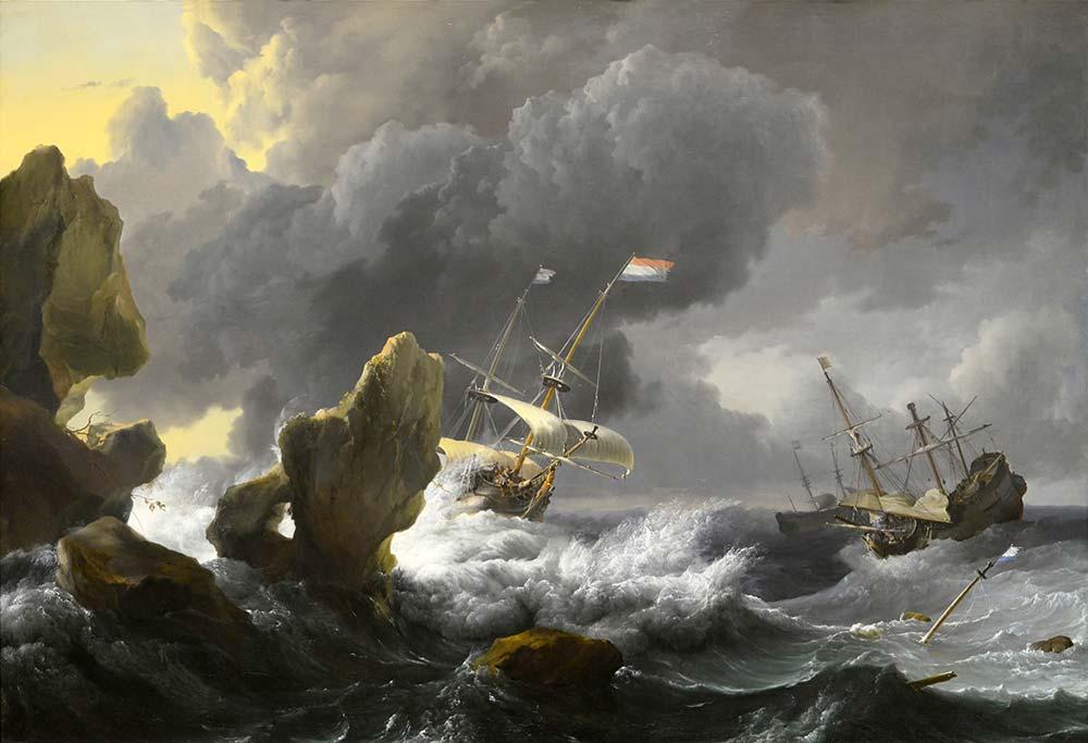 Ludolf Backhuysen Rocky Kıyısında Zor Durumdaki Gemiler