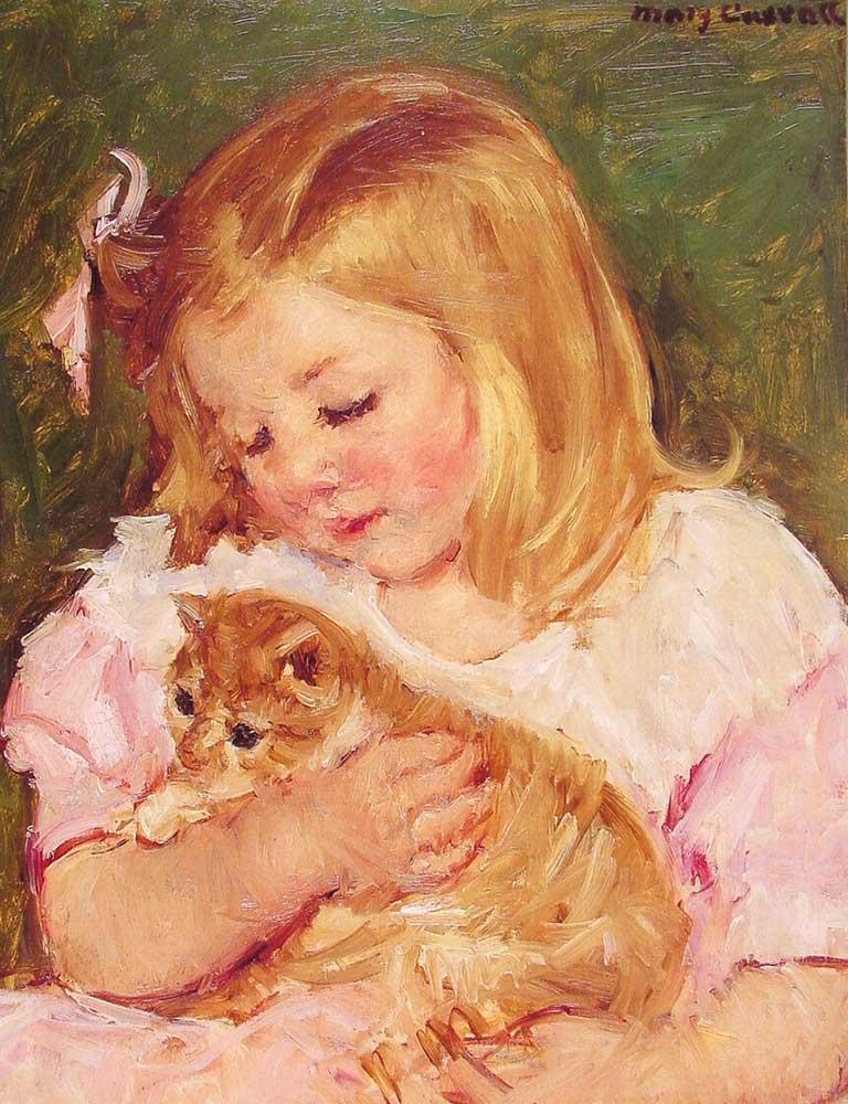 Mary Cassatt Kediyi Kucaklayan Sara