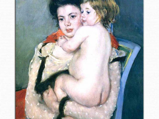 Mary Cassatt Reine Lefebvre'nin Kucağındaki Çıplak Bebek