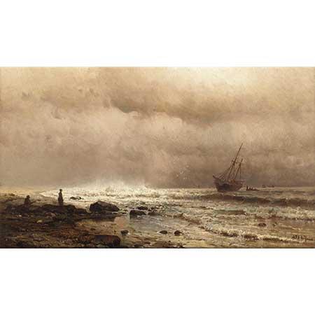 Mauritz de Haas Fırtınalı Kıyıda Gemi
