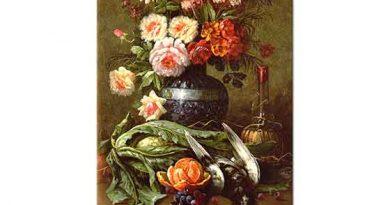 Modeste Carlier Portakal ve Çiçekli Natürmort