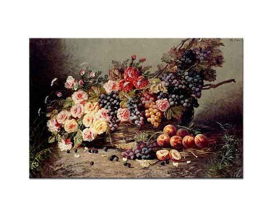 Modeste Carlier Sepette Güller Üzümler ve Şeftaliler
