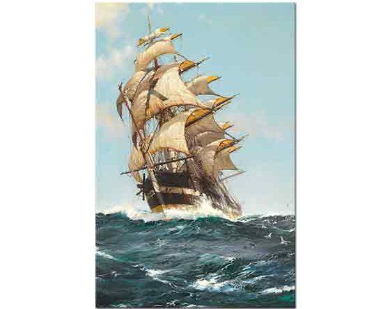 Montague Dawson Yelkenli ve Dalgalı Deniz