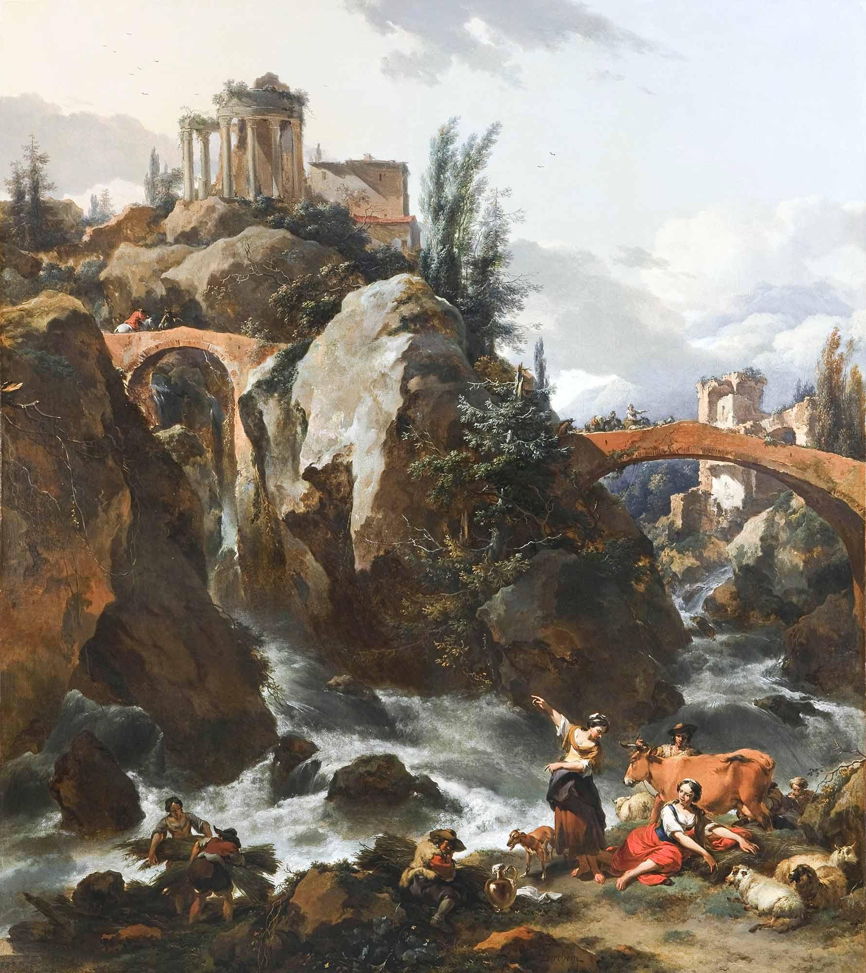 Nicolaes Pietersz Berchem Şelale ve Sbyl Tapınağı Tivoli