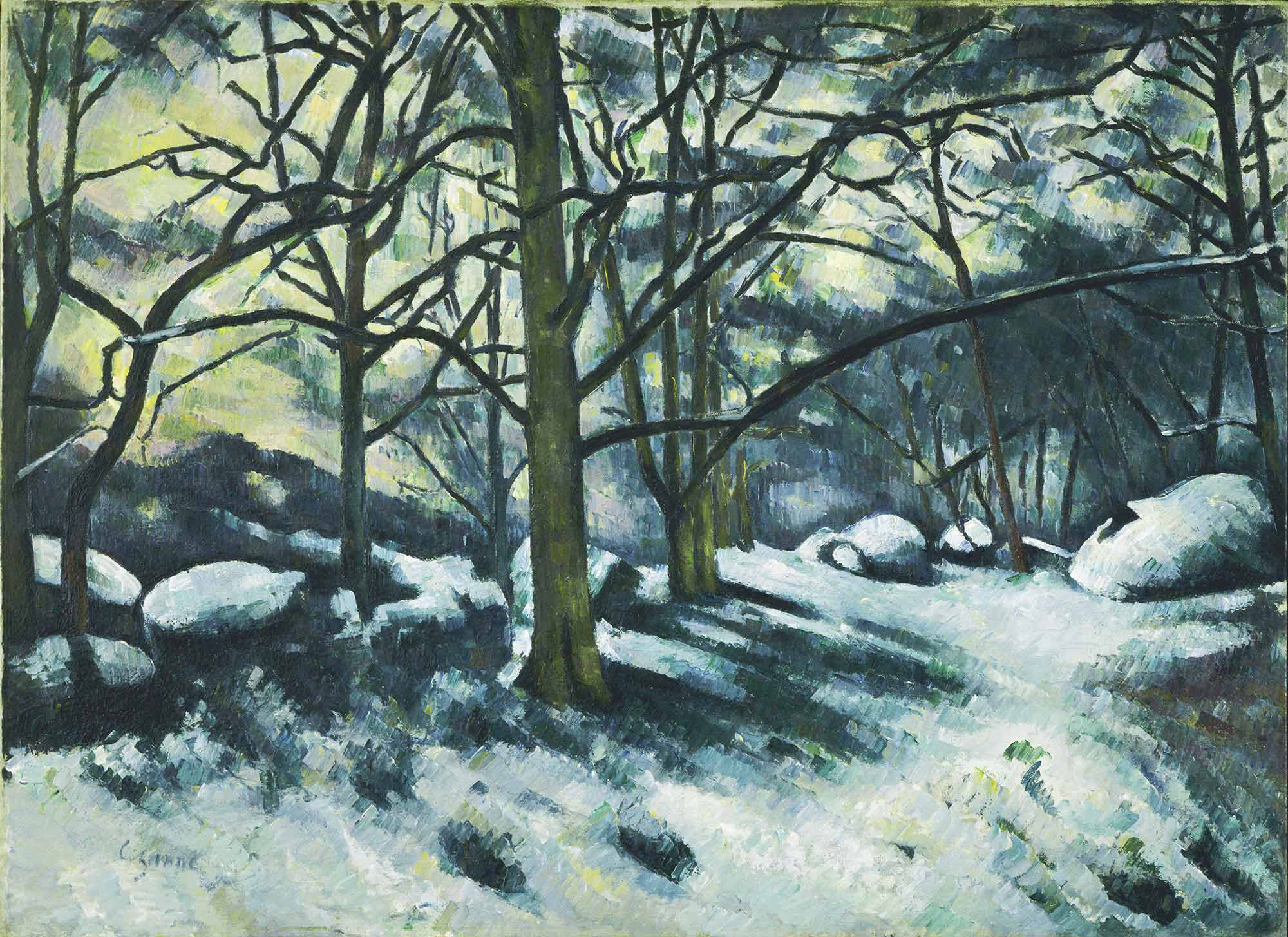 Paul Cezanne Karlar Erirken Fontainebleau