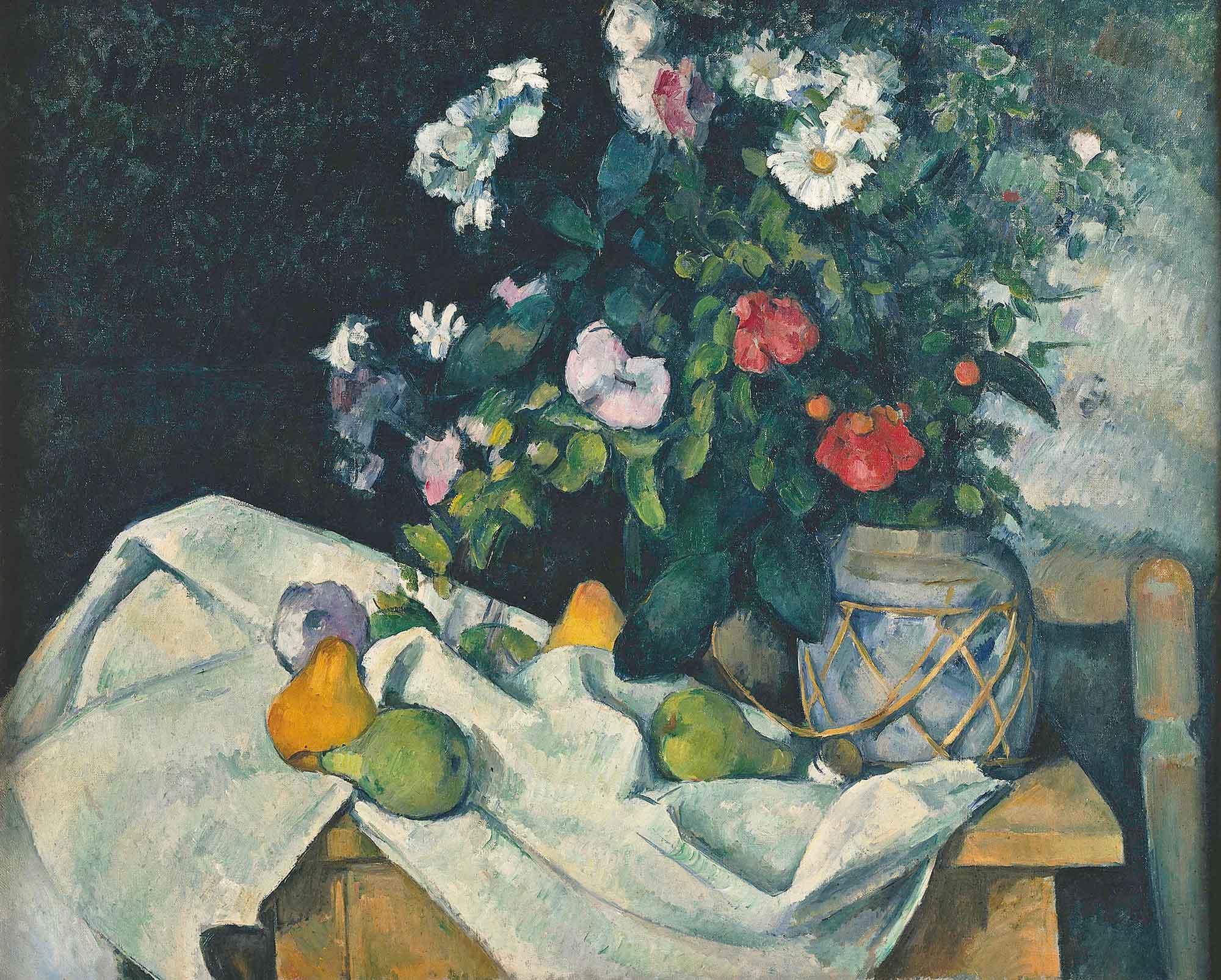 Paul Cezanne Meyve ve Çiçekli Natürmort