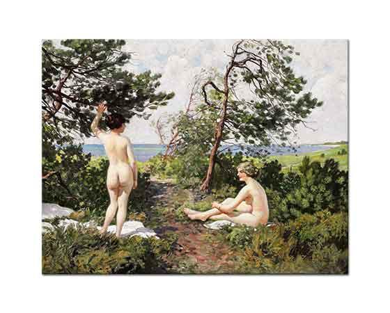 Paul Gustave Fischer İki Kadın Ağaçların Altında Hornbaek Sahilinde
